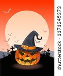 jack o lantern the pumpkin and... | Shutterstock .eps vector #1171245373