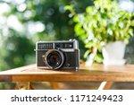 green blur background and retro ... | Shutterstock . vector #1171249423
