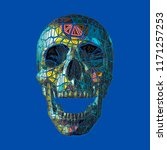 breaking polygonal art skull... | Shutterstock .eps vector #1171257253
