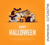happy halloween background with ... | Shutterstock .eps vector #1171262746