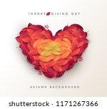 autumn leaves heart shape... | Shutterstock .eps vector #1171267366