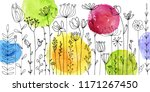 vector background with doodle... | Shutterstock .eps vector #1171267450