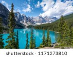Moraine Lake during summer in Banff National Park, Canadian Rockies, Alberta, Canada.  - stock photo