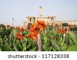 Flowers in a formal garden, Mughal Garden, Rashtrapati Bhavan, New Delhi, India - stock photo