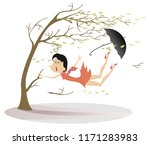 strong wind  umbrella and woman ... | Shutterstock .eps vector #1171283983