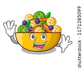 waving cartoon bowl healthy... | Shutterstock .eps vector #1171285099