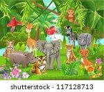 jungle animals | Shutterstock .eps vector #117128713