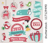 merry christmas and happy new... | Shutterstock .eps vector #117129490