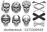 set of skull in sport equipment....