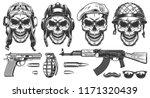 set of skulls in military... | Shutterstock .eps vector #1171320439