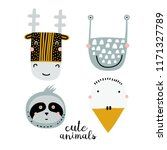 set of four cute animal faces.... | Shutterstock .eps vector #1171327789