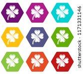 four leaf clover icons 9 set...