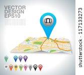 blue travel pointer on map. | Shutterstock .eps vector #117133273
