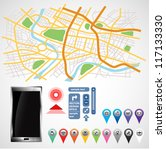 gps smartphone  equipment on... | Shutterstock .eps vector #117133330