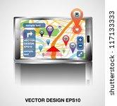 smart phones with gps... | Shutterstock .eps vector #117133333