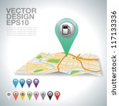green gas station on map. | Shutterstock .eps vector #117133336