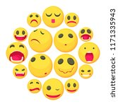yellow smiles fun icons set.... | Shutterstock . vector #1171335943