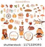 set of cute autumn elements.... | Shutterstock .eps vector #1171339393