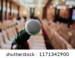 microphones on abstract blurred ... | Shutterstock . vector #1171342900