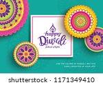 diwali festival greeting card... | Shutterstock .eps vector #1171349410