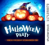 halloween party. jack o lantern ... | Shutterstock .eps vector #1171350073