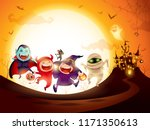 Stock vector halloween kids costume party group of kids in halloween costume jumping in the moonlight 1171350613