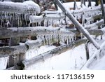 Damaged Fence With Icicles....
