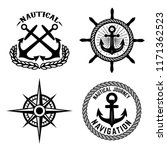 set of emblems with anchors.... | Shutterstock .eps vector #1171362523