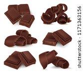 set of broken chocolate bars... | Shutterstock .eps vector #1171363156