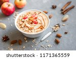 apple pie smoothie bowl.... | Shutterstock . vector #1171365559