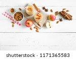 apple pie protein smoothie... | Shutterstock . vector #1171365583