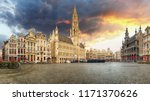 brussels   panorama of grand... | Shutterstock . vector #1171370626