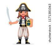 pirate girl children costume... | Shutterstock .eps vector #1171381063