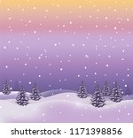 winter landscape with forest ... | Shutterstock .eps vector #1171398856