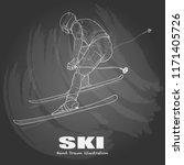 illustration of skiing on... | Shutterstock .eps vector #1171405726