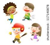 cute kids playing | Shutterstock .eps vector #117140878