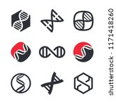 vector dna signs  biotech icons ... | Shutterstock .eps vector #1171418260