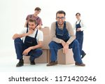 men with stacked boxes isolated ... | Shutterstock . vector #1171420246