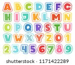 Cartoon Alphabet. Cute Colored...