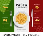 italian menu cover. pasta on... | Shutterstock .eps vector #1171422313