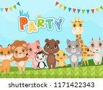 jungle animals background....   Shutterstock .eps vector #1171422343
