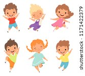 jumping children. cute... | Shutterstock .eps vector #1171422379
