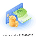 the credit card  paper euro ... | Shutterstock .eps vector #1171426393