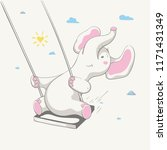 lovely cute cheerful elephant... | Shutterstock .eps vector #1171431349
