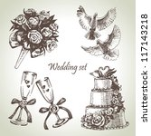 wedding set. hand drawn... | Shutterstock .eps vector #117143218