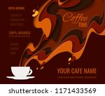 coffee menu design   paper cut... | Shutterstock .eps vector #1171433569