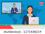 news anchor broadcasting the... | Shutterstock . vector #1171438219