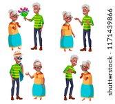 elderly couple set vector.... | Shutterstock .eps vector #1171439866