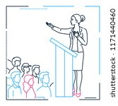 businesswoman speaking from a... | Shutterstock .eps vector #1171440460
