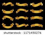 golden ribbon banner set.vector ... | Shutterstock .eps vector #1171450276